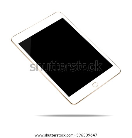mock up gold tablet isolated on white vector design - stock vector