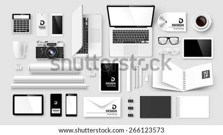 Mock Up set of corporate identity and branding on light background. Vector illustration - stock vector