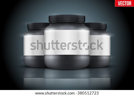 Mockup Background of Sport Nutrition Container. Black Plastic Whey Protein and Gainer. Vector Illustration on dark  background - stock vector