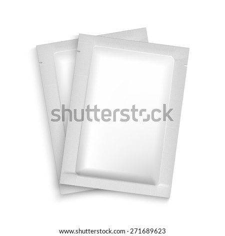 Mockup Blank Foil Packaging Sachet for Tea, Coffee, Sugar, Condoms, Drugs as well as Salt, Spices, Sauce, Shampoo, Gel etc. Plastic Pack Template for your design and branding.  - stock vector