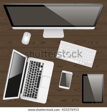 mockup computer, laptop , mobile phone, keyboard , mouse and tablet on a wooden table top view . blank screen for your design. vector illustration - stock vector