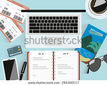 Mockup. Desk with travel elements. Preparing for vacation. Booking vacation. design elements. Vector and illustration design. - stock vector