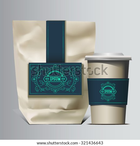 Mockup Foil Food Snack pack For Chips, Spices, Coffee, Salt, and other products. Plastic Pack Template for your design and branding. Vector. Realistic packaging with label and typography. Coffee to go - stock vector