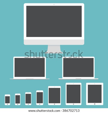 mockup gadget and device icons set in the style flat design on the blue background. stock vector illustration eps10 - stock vector