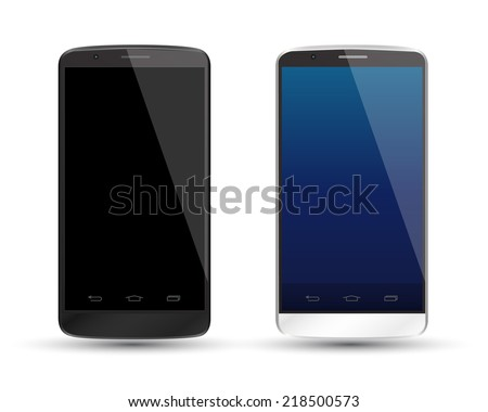 Mockup smartphones set vector realistic style. Vector illustration realistic. Can use for printing and web element. app element. Modern touchscreen android phone cellphone tablet smartphone  - stock vector