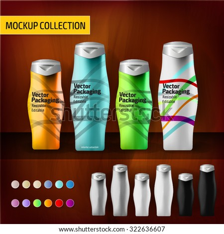 Mockup template bottles for branding and product designs - stock vector
