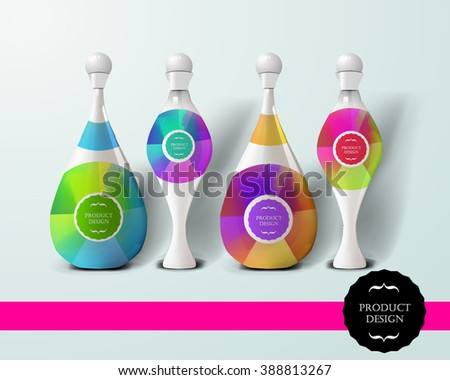 Mockup template for branding and product designs. Isolated realistic bottles with unique design. Easy to use for advertising branding and marketing. - stock vector