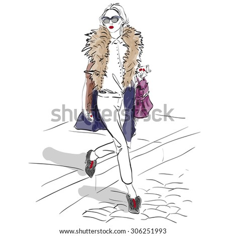 Model fashion. Sketch, excellent vector illustration, EPS 10 - stock vector