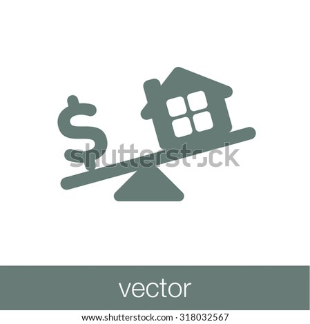 Model house and money coins balancing on a seesaw - stock vector