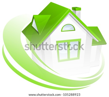 Model of house with green circle, environment concept, vector illustration - stock vector