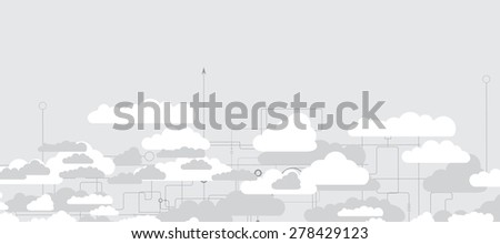 Model of Integration technology with cloud in the sky. Best ideas for Business presentation - stock vector