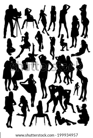 Models Silhouettes - stock vector