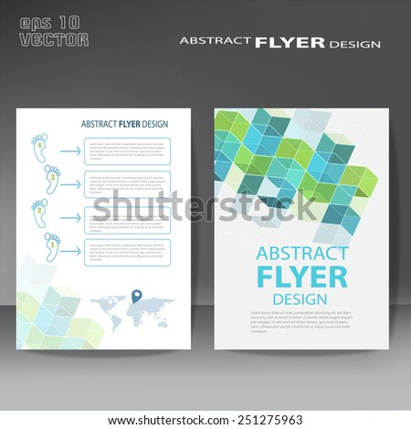 Modern abstract brochure , Vector flyer design template with cubes - stock vector