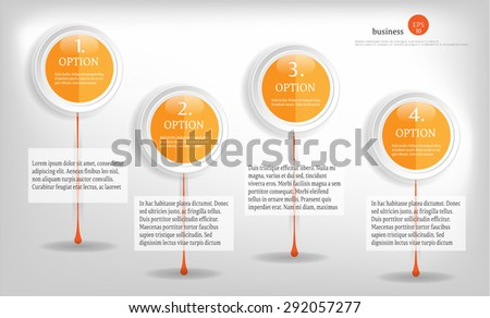Modern, abstract, business background, backdrop, poster with four orange, numered labels, design templates, numbered labels for infographics, presentations, reports, documents, bright background - stock vector