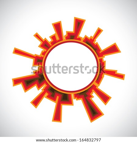 modern abstract colorful building forming cityscape in circle - graphic illustration - stock vector
