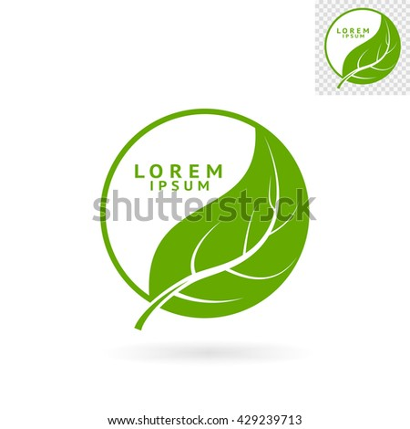 Modern abstract green round sign with leaf for logos, banners, layouts, corporate  brochures, templates and internet web sites. Vector eps10 illustration - stock vector