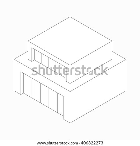 Modern abstract house icon, isometric 3d style  - stock vector
