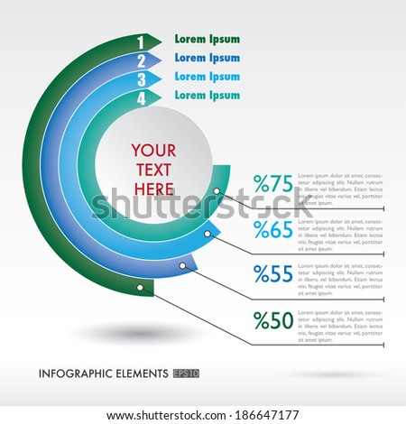 Modern, abstract infographics elements in a circle - stock vector