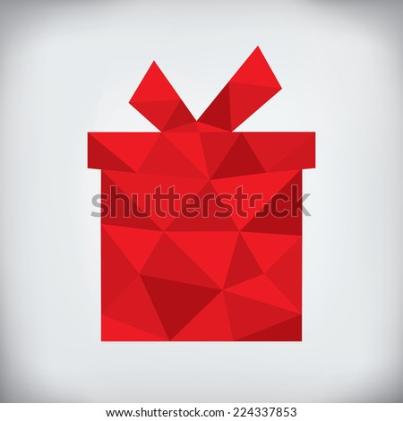 Modern abstract style - origami paper christmas gift design - stock vector