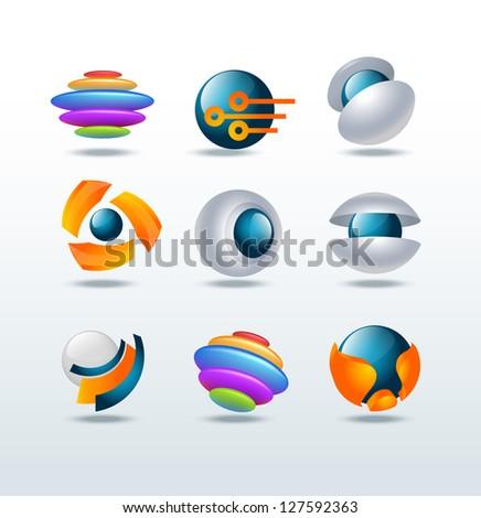 Modern abstract vector icon set - stock vector