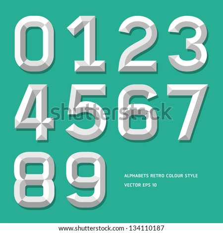 Modern alphabet number colour style. Vector illustration. - stock vector