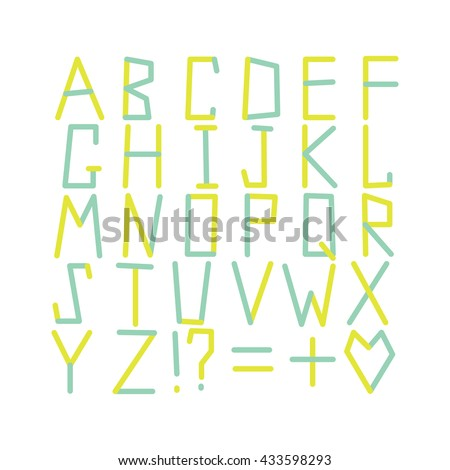 Modern alphabet set. ABC geometric letters. Modern creative font. Multicolored typography. ABC broken letters. New vector typeface. - stock vector