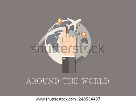 Modern and classic design around the world concept flat icon - stock vector