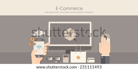 Modern and classic design e-commerce concept. - stock vector