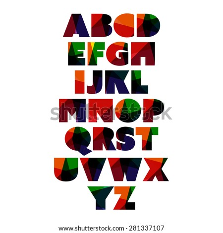Modern and Colorful Bold Font Set Design - stock vector