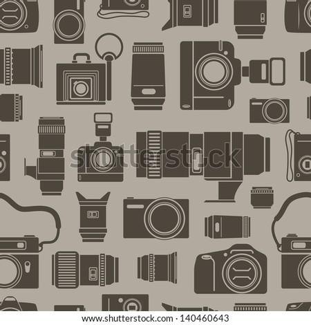 Modern and retro photo technics seamless background - stock vector