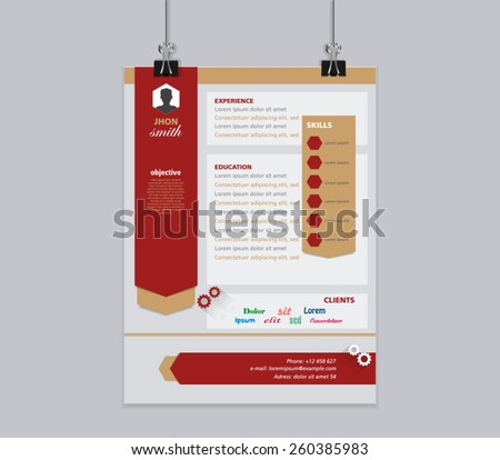 Modern and simple resume template package for design support of poster. Vector illustration eps 10.  - stock vector