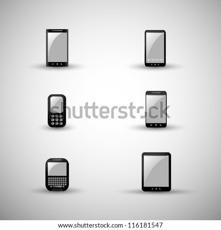 Modern and vintage mobile gadgets - stock vector
