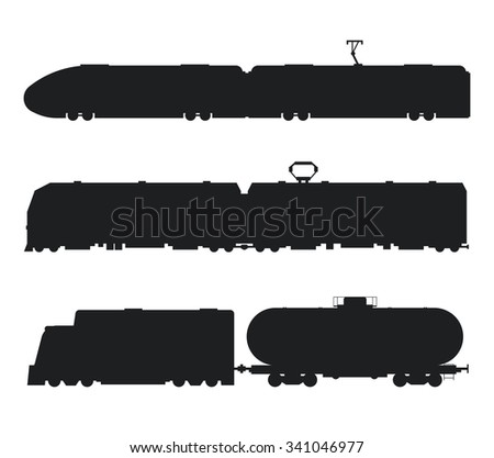 Modern and vintage trains vector black and white icons silhouette. Trains vector illustration silhouette. Trains icons silhouette isolated on white. Old, modern train vector on railway. Travel train - stock vector