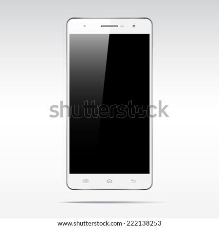 Modern android white touchscreen cellphone tablet smartphone isolated on light background.  Empty screen - stock vector