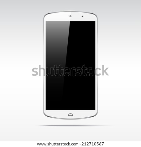 Modern android white touchscreen phone smartphone tablet isolated on light background.  Empty screen - stock vector