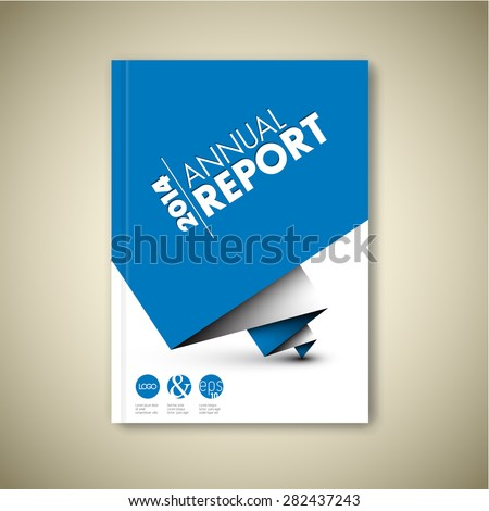 Modern Annual report Vector Abstract design template with blue paper on cover Front page - stock vector