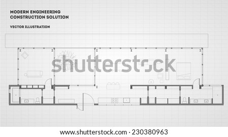 Modern architectural vector background. Eps 10 illustration on grey. - stock vector