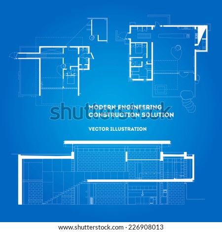 Modern architecture blueprint - plans of different buildings. Editable eps 10 vector illustration. - stock vector