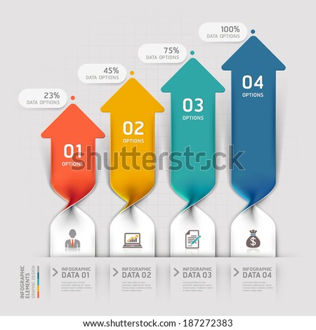 Modern Arrow business spiral infographics option. Vector illustration. can be used for workflow layout, banner, diagram, number options, step up options, web design. - stock vector