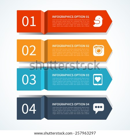 Modern arrow design template for infographics. Origami style. Vector illustration. Can be used for workflow layout, brochure, diagram, chart, number and step up options, web design - stock vector