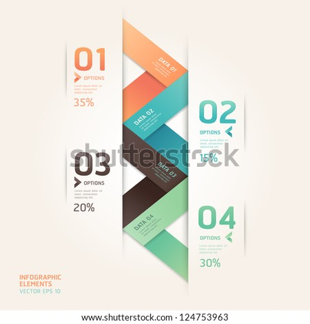 Modern arrow origami style number options banner. Vector illustration. can be used for workflow layout, diagram, step options, web design, infographics. - stock vector