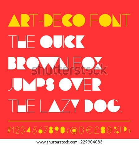Modern art-deco related font that found compromise between retro and futuristic style. Typeface is geometrically straight, rhythmic, clean and elegant. (Numbers, punctuation and special symbols) - stock vector