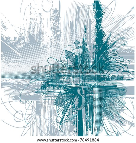 Modern background eroded and consumed with engrave arrows - stock vector