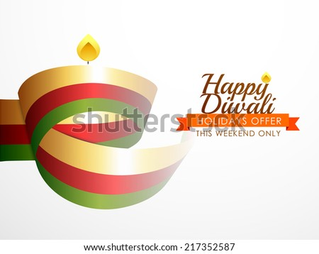 Modern background for Diwali festival with artistic diya. - stock vector