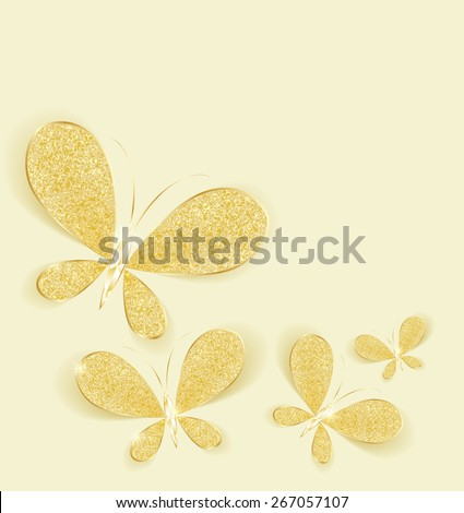 Modern background with gold butterflies as a jewel - stock vector