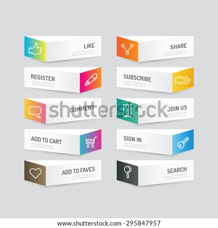 Modern banner button with social icon design options. Vector illustration. can be used for infographic workflow layout, banner, abstract, colour, graphic or website layout vector - stock vector