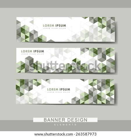 modern banner set template design with green triangle elements - stock vector