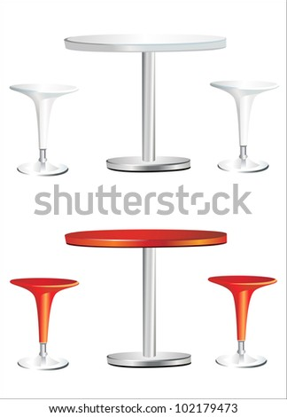Modern bar table with two chairs on white background - stock vector