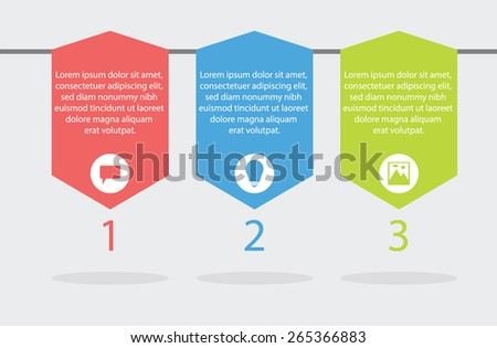 Modern Basic Simple Info graphic , 3 steps , message, think, picture, red blue green - stock vector
