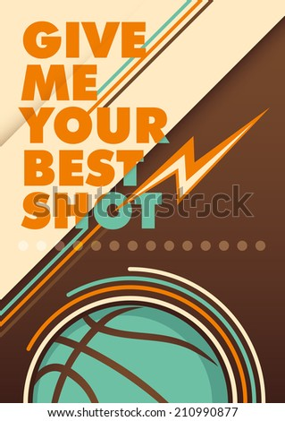 Modern basketball poster with typography. Vector illustration. - stock vector